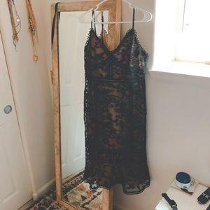 NEVER WORN Black Lace Midi LuLu Dress Size L
